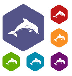 Jumping dolphin icons set hexagon vector