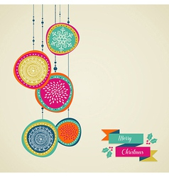 Merry Christmas hand drawn circle baubles file vector image vector image