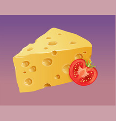 piece of yellow porous cheese with tomato vector image
