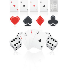 Playing cards with dices vector