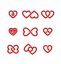 red heart icons set valentines day design elements vector image vector image