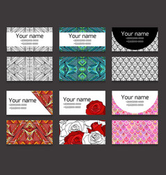 Set of different horizontal business cards vector
