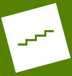 Stair up sign white icon obtained as a vector