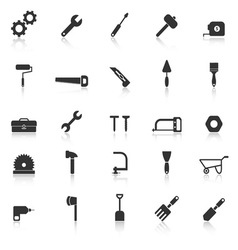 Tool icons with reflect on white background vector