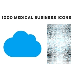 Cloud icon with 1000 medical business pictograms vector