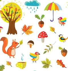 Autumnal seamless pattern with nature elements vector