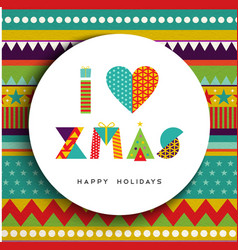 I love christmas greeting card design in fun color vector