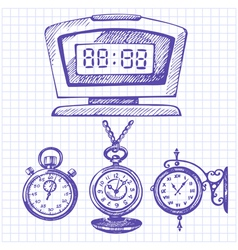Hand drawn set of clocks and watches vector image