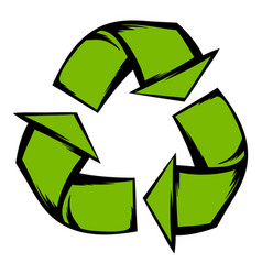 Green recycle symbol icon cartoon vector