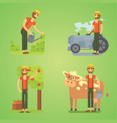 farmers using agricultural tools set farmer vector image