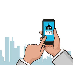 home icon on smartphone screen hand hold vector image