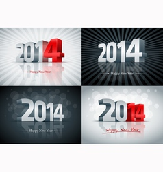 2014 happy new year set vector