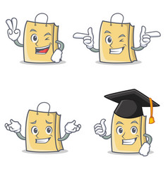 Set of bag character with two finger wink vector