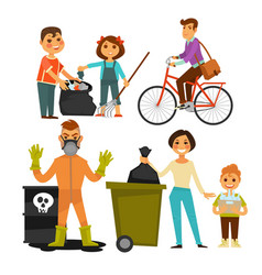 People removing garbage on street ecology vector
