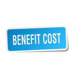 Benefit cost square sticker on white vector