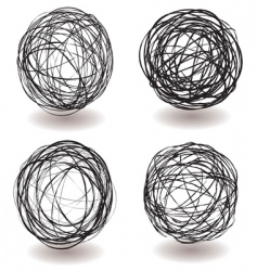 Scribble ball icon vector