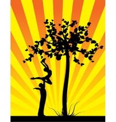 yellow shine apple tree vector image