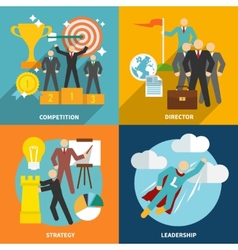 Leadership icons flat vector