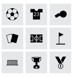 Black soccer icon set vector