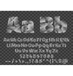 Lowpoly Font alphabet with numbers and symbols vector image