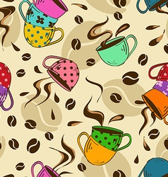Seamless pattern of coffee cups vector