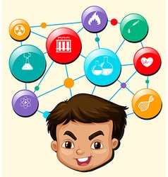 Boy with science symbols on his head vector