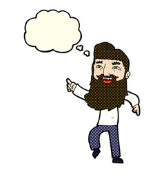 Cartoon man with beard laughing and pointing with vector
