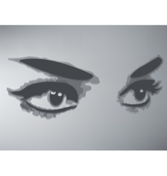 Woman eyes isolated on gray background vector