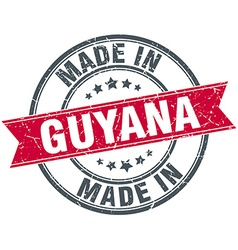 Made in guyana red round vintage stamp vector