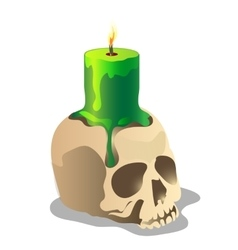 Human skull and a green burning candle on it vector