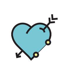 arrow on heart icon blue vector image vector image