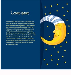 Baby card with moon and text on a blue background vector