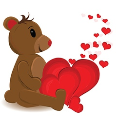Bear with multiple love hearts vector image vector image