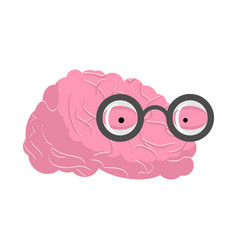 Brain glasses genius of human brains egghead mind vector