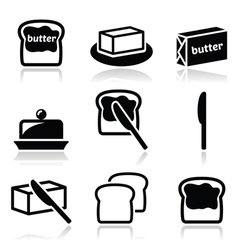 Butter or margarine icons set vector