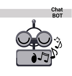 cartoon robot face smiling cute emotion sing chat vector image