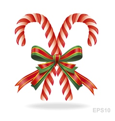 Christmas candy cane and ribbon vector