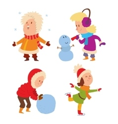 Christmas kids playing winter games vector image vector image