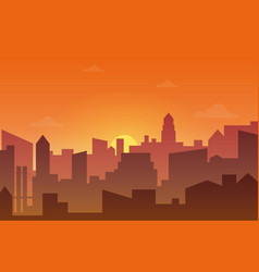 city skyline silhouette at sunset or sunset vector image