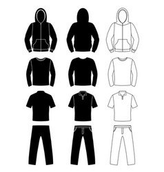 clothing silhouettes hoodie t-shirt and long vector image vector image