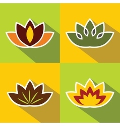 Color flat flowers with dark long shadow vector