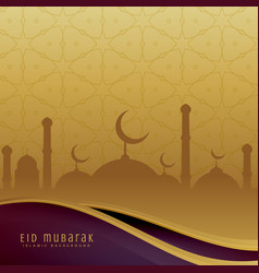 Eid festival background in golden color vector