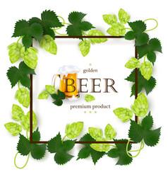 emblem label design with beer mug frame of hops vector image vector image