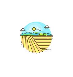 farming landscape field line icon farm flat vector image vector image