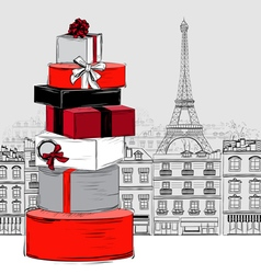 Fashion big pile of gift boxes on paris city vector