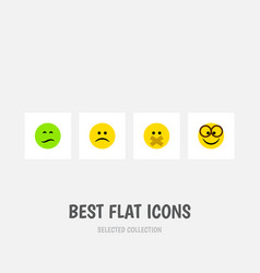 Flat icon face set of sad frown hush and other vector