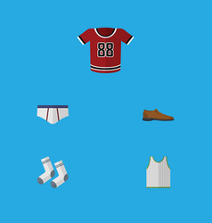 Flat icon garment set of t-shirt singlet vector