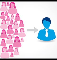 Group of female and male icons on white background vector image