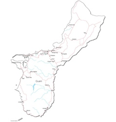 Guam black white map vector