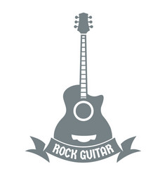guitar logo simple gray style vector image
